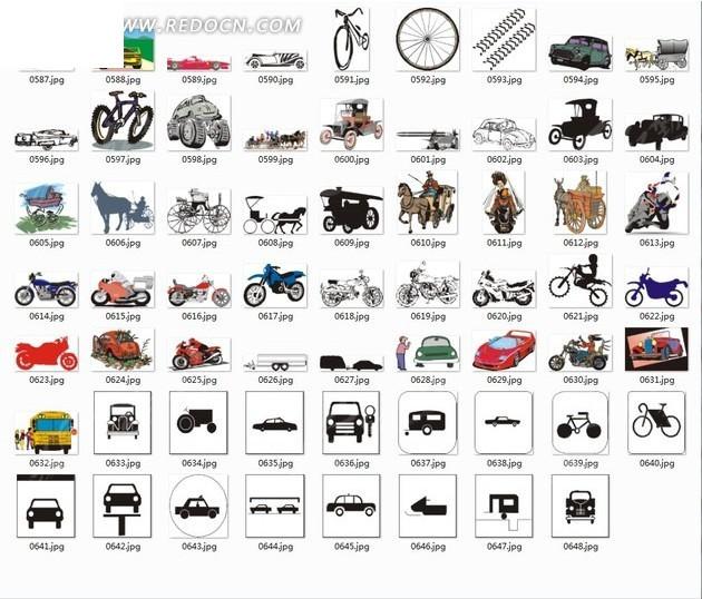 手绘合辑—自行车马车汽车和巴士以及出租车eps素材