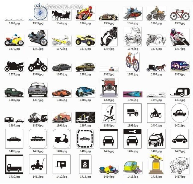 手绘摩托车汽车自行车合辑eps素材免费下载_红动网