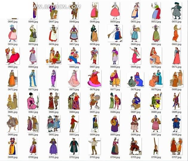 少数民族人物插画—坐着的人裙装美女合辑
