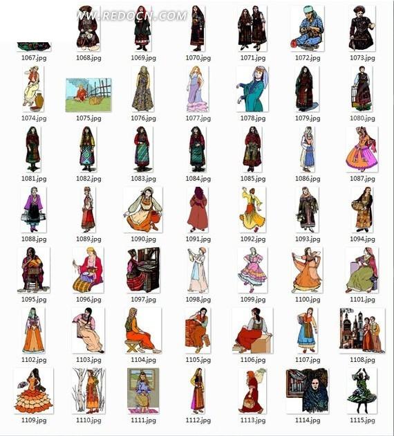 拜寿卡通人物插画素材 人物上半身特写素材 美容人物卡通素材 欧洲