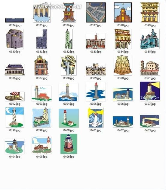 插画合辑—欧式建筑和灯塔矢量图_建筑景观
