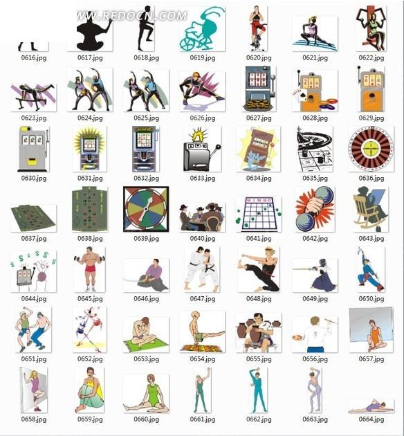 各种体育健身运动及器材插画