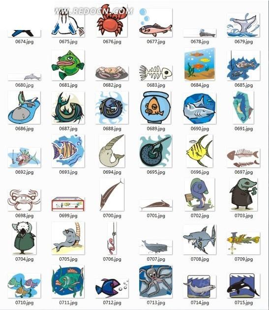 免费素材 矢量素材 生物世界 水中动物 海底动物合辑-螃蟹动物  请您