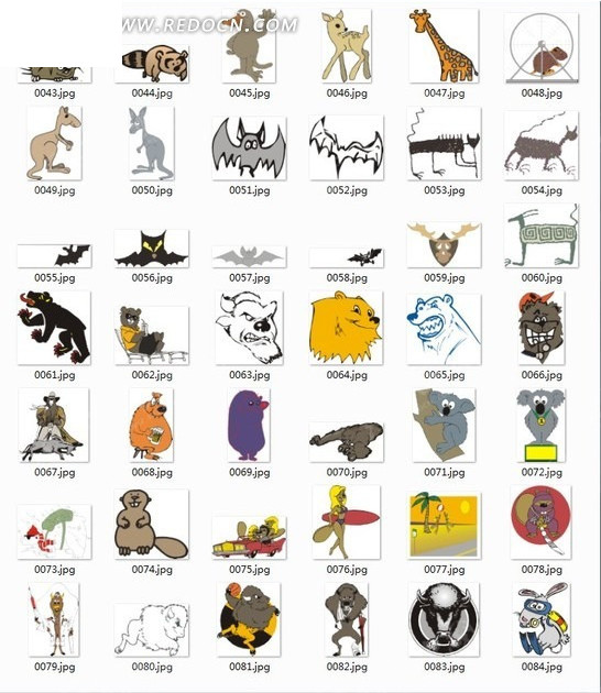 卡通动物合辑-蝙蝠等动物