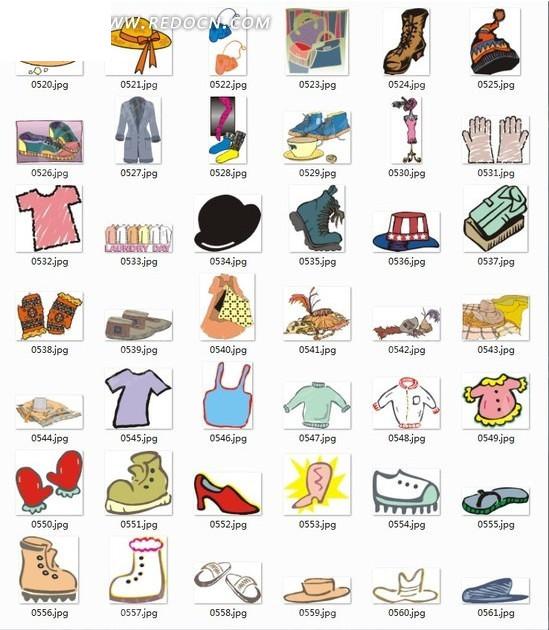 插画合辑--帽子衣服鞋子图片