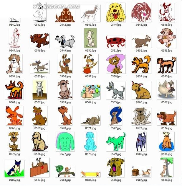 动物合辑—手绘各种神态的可爱的狗