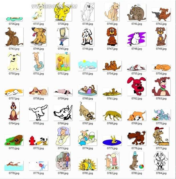 卡通动物合辑-各种表情狗