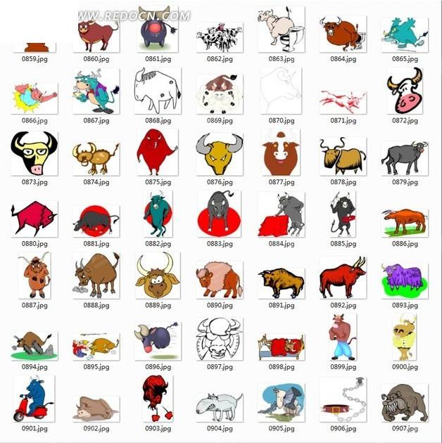卡通动物合辑-各种动作牛