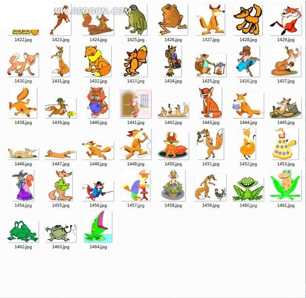 卡通狐狸图片; 青蛙简笔画;