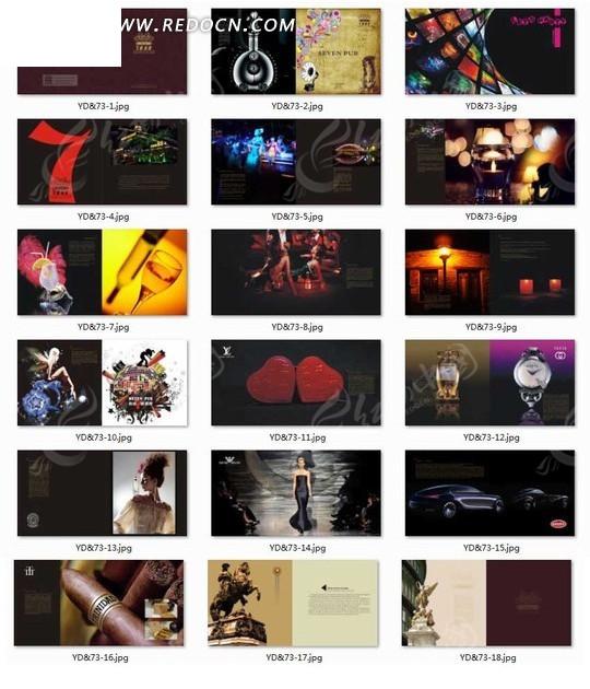 广告设计矢量模板 画册设计 画册设计—包含心形和手表以及雪茄的画册
