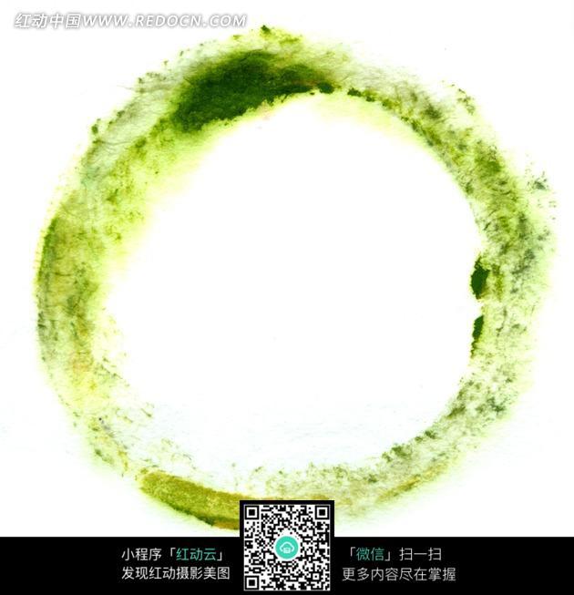 黄绿色絮状圆圈水墨画图片