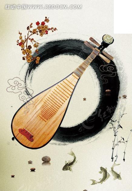 古典中国风水墨琵琶psd素材
