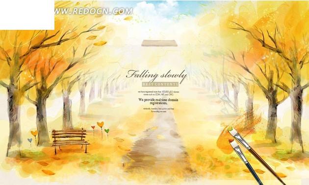 秋天风景 秋风落叶 枫叶手绘素材