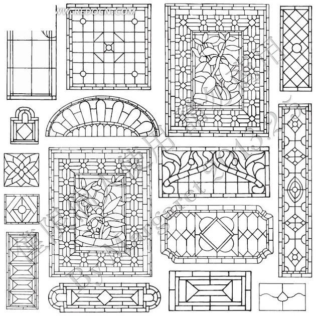 传统镂空窗格雕花图案图片