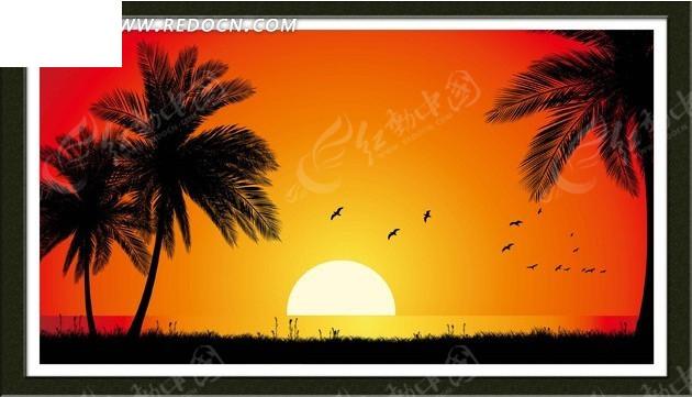 有椰子树的海边日落风景装饰画