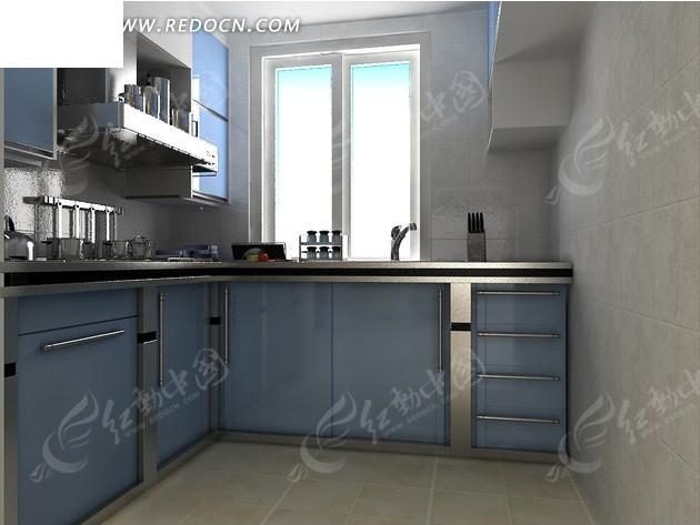 现代厨房效果图带窗