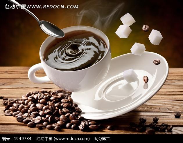 咖啡咖啡豆托盘方糖图片