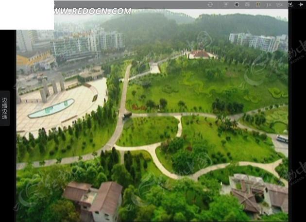 空中俯览 风景图片 园林 树木草地 公园 广场 屋瓦楼房  视频素材