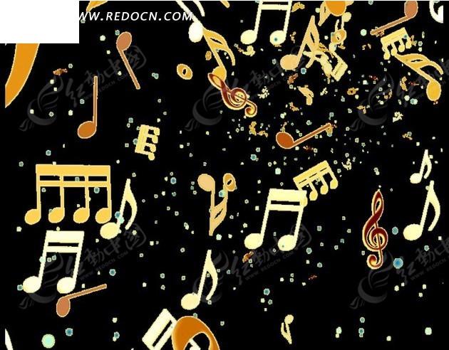 黑色背景向前浮动的金色音乐符号mov素材免费下载 编号1961469 红动图片