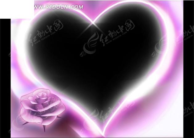 黑色背景图手绘爱心