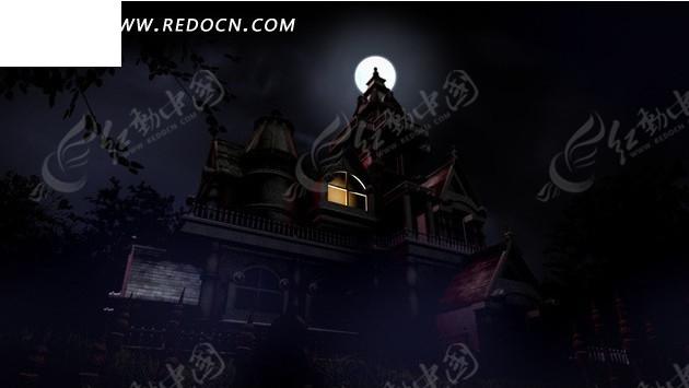 月亮下打雷的阴森古堡mov素材免费下载 编号1962251 红动网