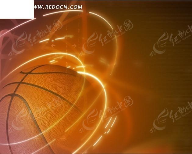 环绕金色光圈的篮球主题背景