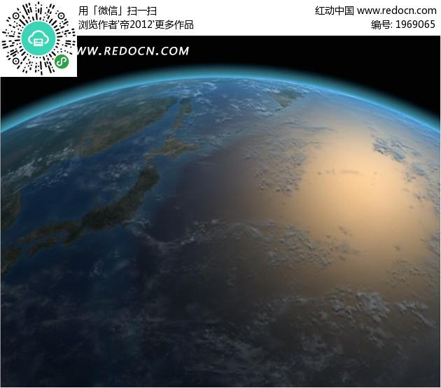 卫星航拍  壮丽地球 亚洲 地图 中国 大陆 陆地 太平洋  合成背景