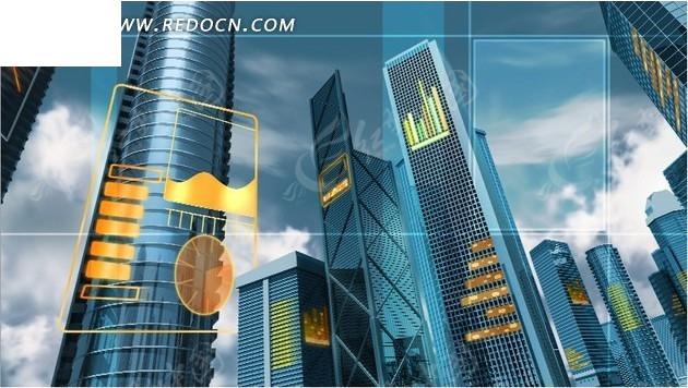蓝色科技高楼大厦背景psd素材免费下载_红动网