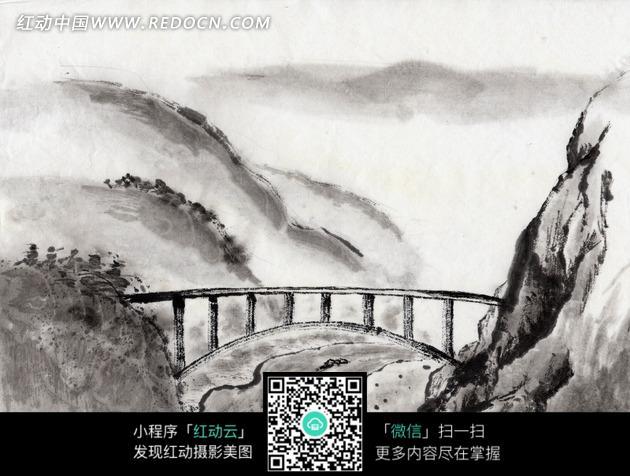山谷 小桥 桥梁 风景画 水墨画 中国风 绘画作品  书画