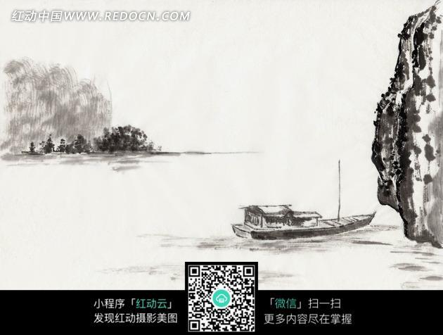 绘画作品-湖泊岩石边的乌篷船
