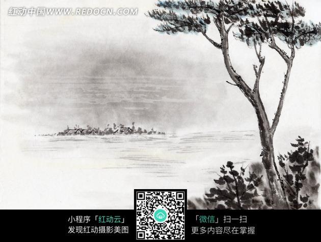 绘画作品-湖边灌木丛中的树木图片