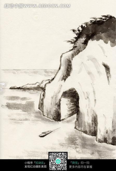 绘画作品 湖边小山上的山洞和小船图片