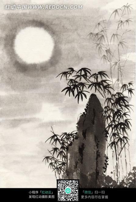 绘画作品-夜空中的月亮和竹子下的岩石图片