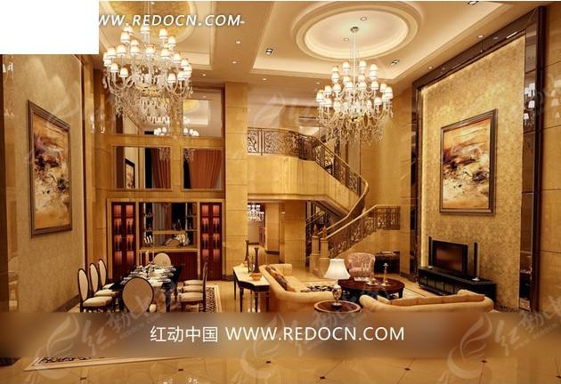 欧式时尚复式别墅开放式客厅效果图图片