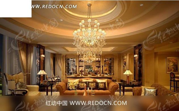 豪华水晶吊灯      沙发 茶几 台灯 水晶吊灯 壁画 窗帘 室内设计 3d
