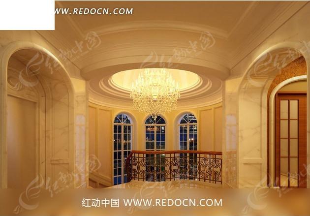 欧式华丽 别墅 走廊      豪华水晶吊灯 门窗 室内设计 3d效果图 室内图片