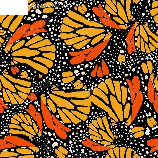 免费素材 矢量素材 花纹边框 底纹背景 黑色背景上的白点和蝴蝶翅膀