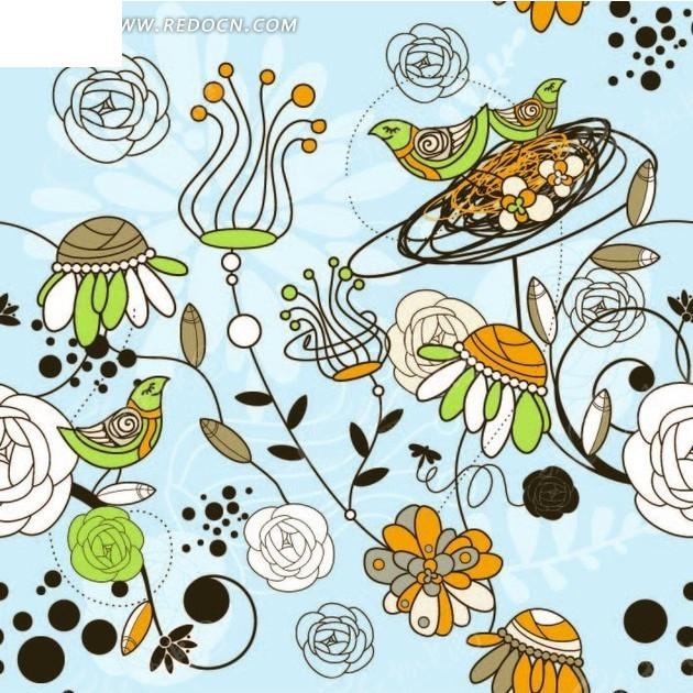 蓝色背景上的手绘枝条和花朵构成的图案