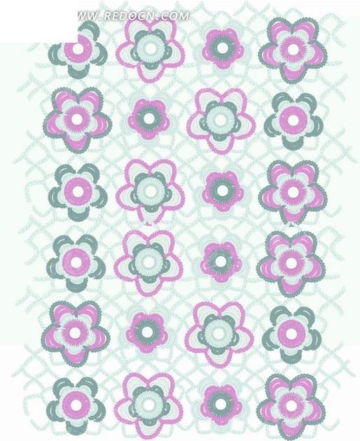 网格前的手绘花朵构成的图案AI素材免费下载 红动网