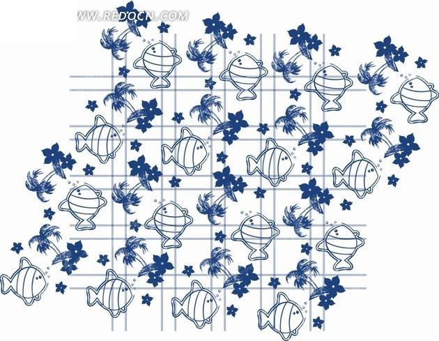 蓝色的花朵椰树小鱼格子矢量图