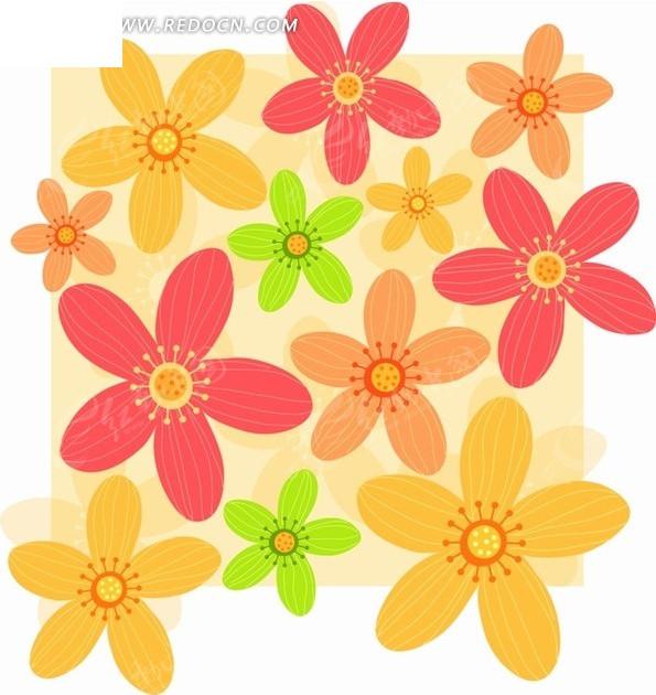 背景素材—美丽的卡通花朵构成的图案