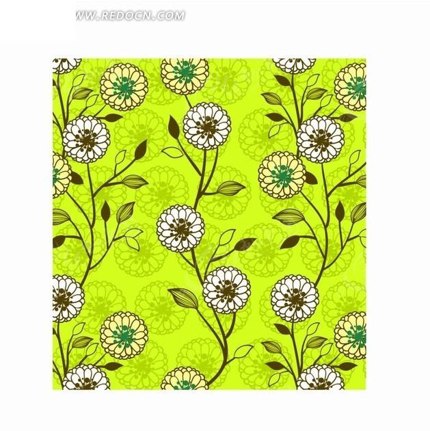 手绘花朵和开花的枝条构成的图案