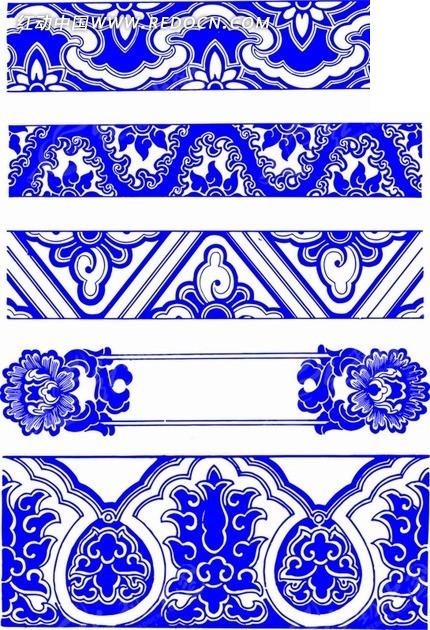 青花瓷花纹边框底纹图案设计图片;; 青花瓷花纹边框底纹图案图片