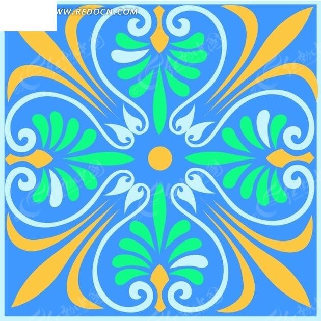 蓝色方框里的蓝色绿色黄色对称花纹