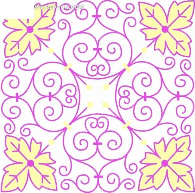 构成方形的黄色叶子和紫色花纹图片