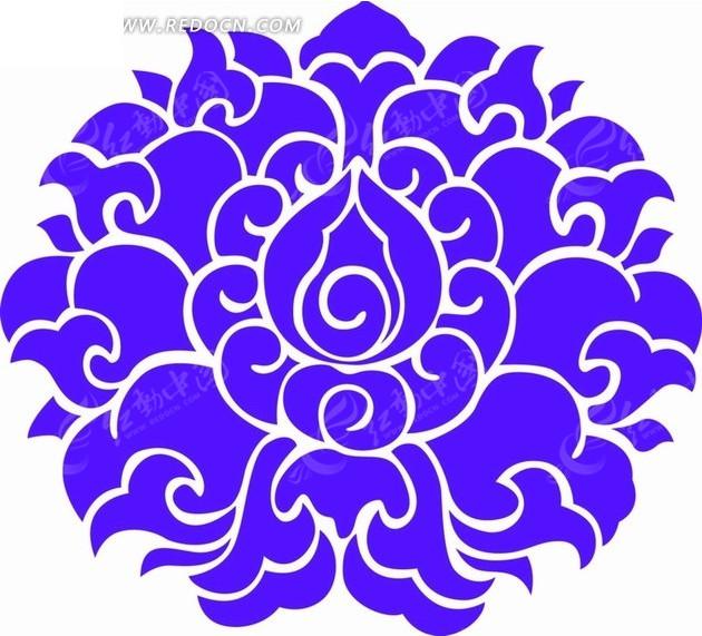 免费素材 矢量素材 花纹边框 底纹背景 蓝色莲花装饰图案  请您分享