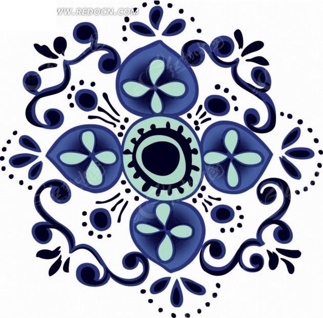 深蓝色花纹圆点和花朵构成的图案矢量图
