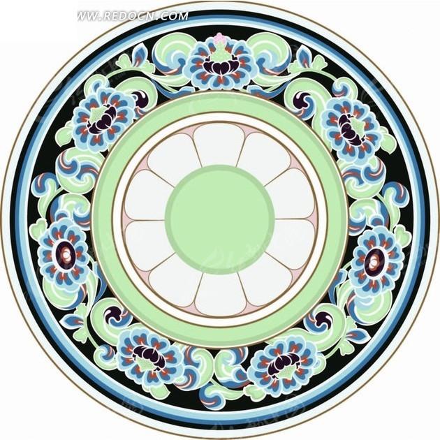 圆形植物花纹花瓣底纹图案