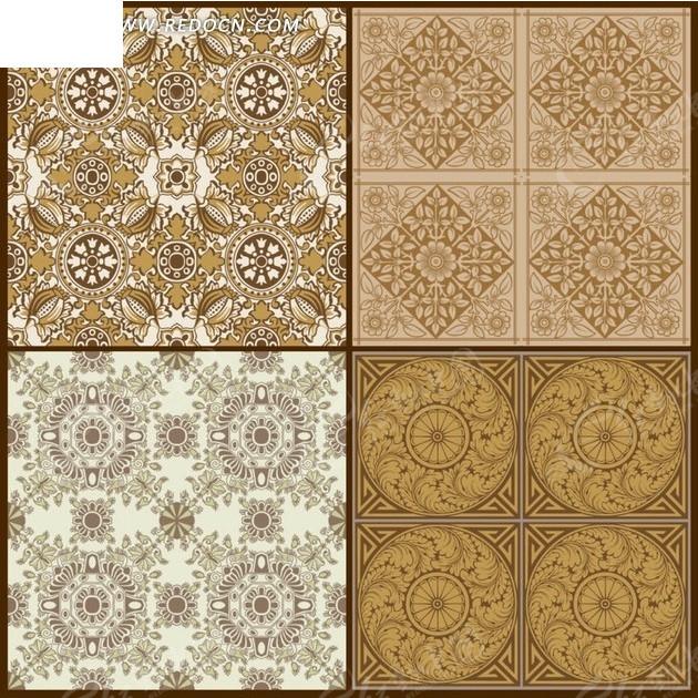 免费素材 矢量素材 花纹边框 底纹背景 棕色古典花纹图案  请您分享