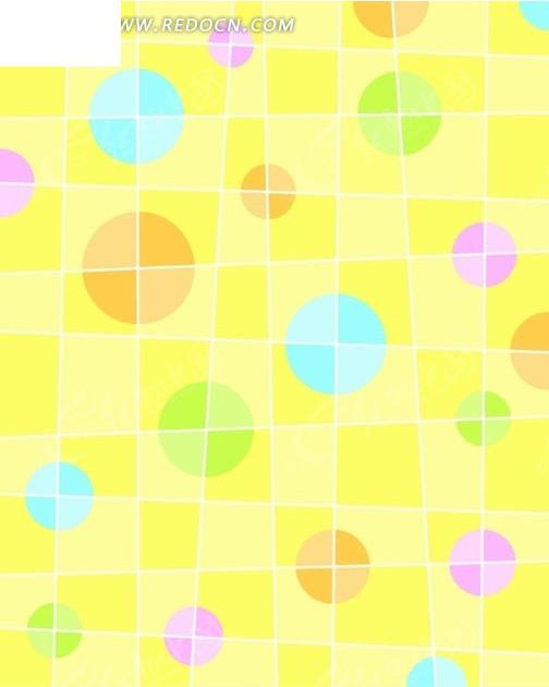 黄色格子和彩色圆形构成的图案